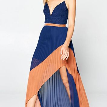 Bound For Glory Georgette Sleeveless Spaghetti Strap Lace V Neck Pleated Slit Front High Low Maxi Dress - 3 Colors Available
