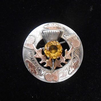 Sterling Silver Scottish Thistle Citrine Brooch Pin Kilt WBS Ward Brothers Gold Overlay 1950's Celtic
