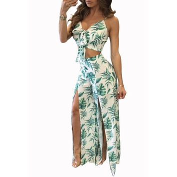 Sexy Split Elastic Waist Wide Leg Pants Two Piece Set Bow Tie Crop Top 2018 Floral Print Women Casual Summer Party Club Trousers