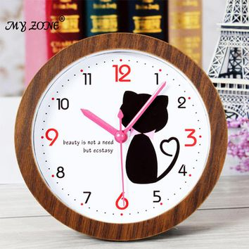 Creative cute cartoon kitty cat Imitation wood alarm clock home decoration desk clock watch Students children room alarm clocks