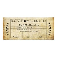 VINTAGE STYLE WEDDING R.S.V.P TICKET PERSONALIZED ANNOUNCEMENT