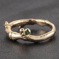 Diamond Emerald Engagement Ring 14K Yellow Gold Hand Crafted Twig Bezel set