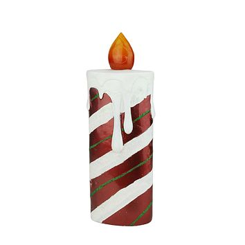 """13.75"""" LED Lighted Festive Candy Cane Striped Candle Christmas Decoration"""