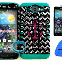 LG Optimus G Pro E980 Pink Anchor on Chevron Waves Bling Hard Plastic Snap on + Teal Silicone Kickstand Cover Case (Included: Wristband, Screen Protector and Pry Tool Exclusively By Wirelessfones TM)