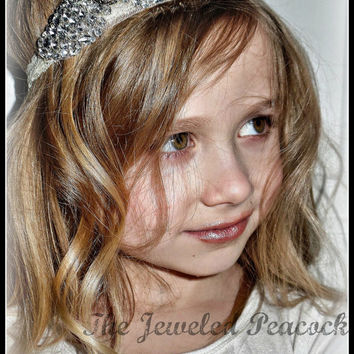 RHINESTONE HEADBAND, crystals, bling, newborn girl, lace headband, custom, sparkly, photo prop, baby girl, toddler girl, you choose