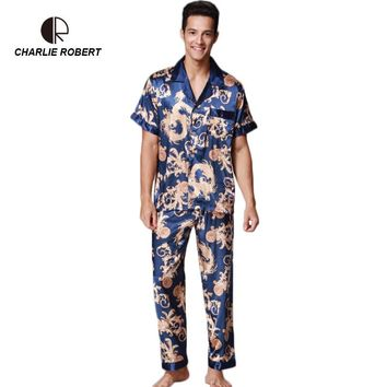 Men's Short Sleeve Long Pants Emulation Silk Pajama Set