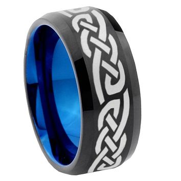 8mm Celtic Knot Infinity Love Bevel Tungsten Carbide Blue Mens Promise Ring