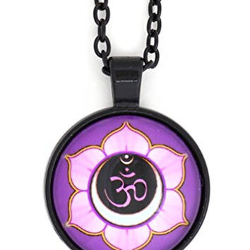 Om Mandala Necklace Black Purple Crescent Lotus Flower NR73 Aum Hindu Buddhist Yoga Art Pendant