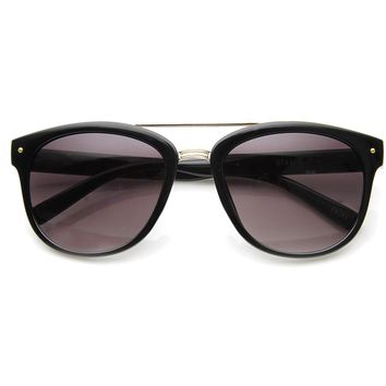 Double Bridged Classic Horn Rimmed Sunglasses with Metal Crossbar