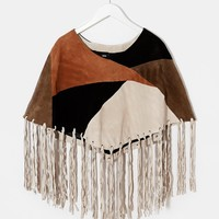ASOS Patchwork Suede Cape With Fringing at asos.com