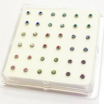 Sterling Silver CZ Flower Nose Studs