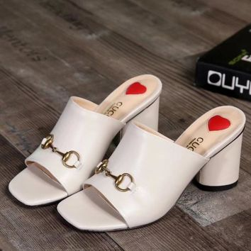 Gucci Women Fashion Simple  Casual  High Heeled Slipper Shoes