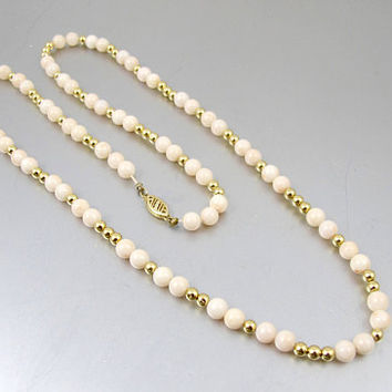 Gold Coral Necklace. 14K Yellow Gold Angel Skin Pink Coral Bead Necklace. 24 Inches Long.