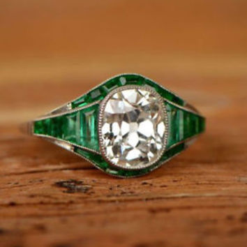 3.50 Ct Antique Art Deco White Cushion Cut Engagement Ring 925 Sterling Silver