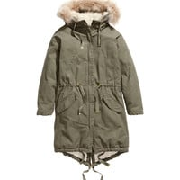 H&M - Pile-lined Parka - Khaki green - Ladies