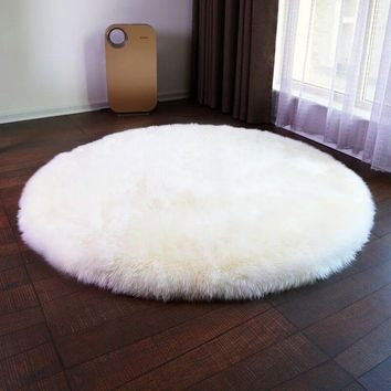 2016 new round Sheepskin Chair Cover Seat Pad Soft Carpet Hairy Plain Skin Fur Plain Fluffy Area Rugs Bedroom Faux carpet Mat