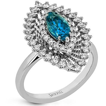 Simon G. Blue Zircon Marquise Diamond Halo Ring
