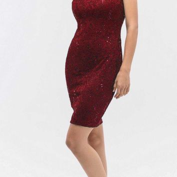 Lace Close Neck Sleeveless Bodycon Short Party Dress Burgundy