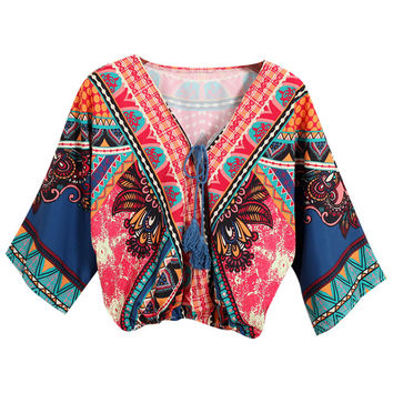 Tribal Printed V-Neckline Long Sleeved Crop Top