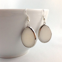 White Agate Stone Earrings