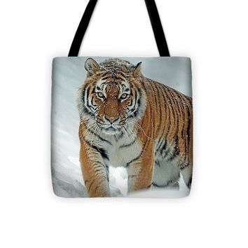 Tiger In Winter - Tote Bag