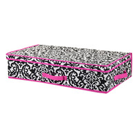 Pink Damask Large Under-The-Bed Lidded Storage Box