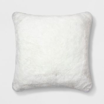 Decorative Faux Fur Throw Pillow White - Simply Shabby Chic®