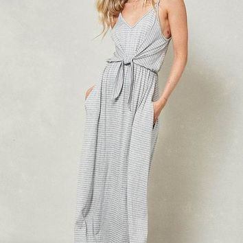 Front Knot Striped Maxi