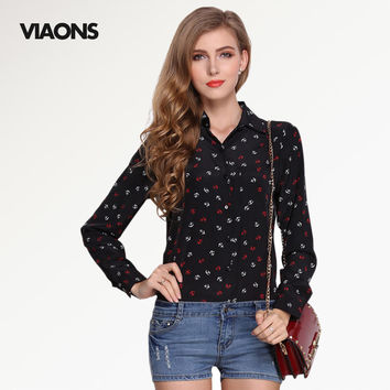 [VIAONS] 2016 Fashion Women Printing Blusas Long Sleeve Shirt Novelty Women Tops Chiffon Blouse WE019