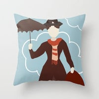 Mary Poppins Throw Pillow by Jessica Slater Design & Illustration