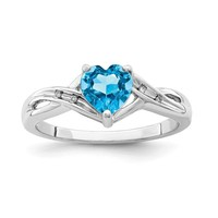 Sterling Silver Diamond & Light Swiss Blue Topaz Heart Ring