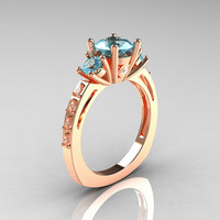 Classic French Bridal 14K Rose Gold Three Stone 10 by artmasters
