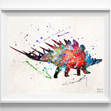 Stegosaurus Dinosaur Print, Dinosaur Watercolor, Stegosaurus Art, Nursery Decor, Boy Room Decor, Playroom Art, Baby Room, Wall Art Prints