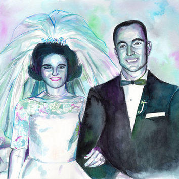SPECIAL WEDDING 25th ANNIVERSARY gift - Custom watercolor painting from old photo