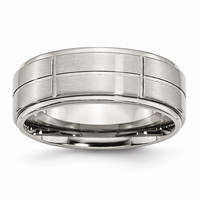 Men's Stainless Steel Grooved Brushed/Polished Ridged Edge Wedding Band Ring: RingSize: 8