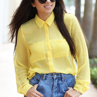 Mellow Yellow Sheer Blouse - Furor Moda - Tops - Dresses - Jackets - Vintage