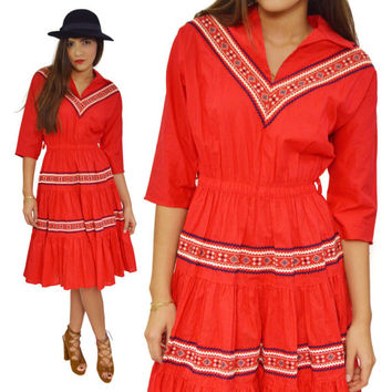 Vintage 70s Boho Swing Rockabilly Gypsy Ethnic Rock n' Roll Red Embroidered Dress