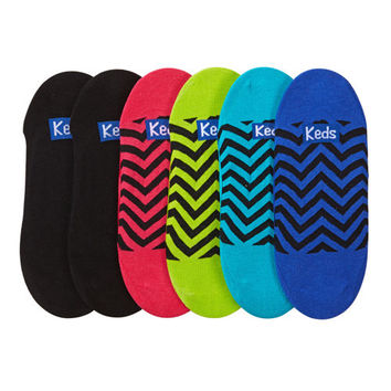 Keds® Ladies' No-Show Cotton Liner 6-Pack-Chevron Print