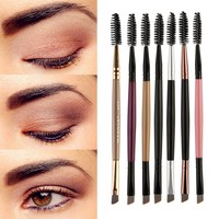 1PCS Duo Brow Makeup Brush Wood Handle Double Sided Eyebrow Flat Angled Brushes brochas maquillaje profesional pinceaux NEW #7