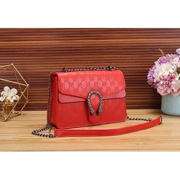 Gucci Fashionable Women Shopping Bag Leather Metal Chain Shoulder Bag Crossbody Satchel Red