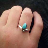 Authentic Navajo,Native American,Southwestern,sterling silver, Chevron sleeping beauty Turquoise ring.Size 5 3/4