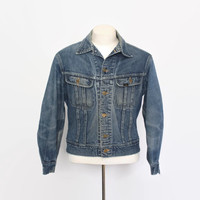 Vintage 70s LEE 101-J Jean JACKET / 1970s Distressed Denim Jacket 40 M