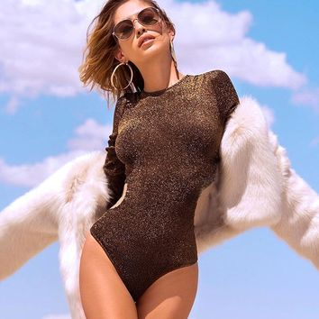 Long Sleeve Hot Sale Sexy One-piece [212255244314]