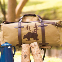 Outdoorsman Canvas Duffel Bag W/Embroidered Bear Design Camping Man Gift Hunter