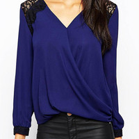 Crepe Top with Lace Deteils