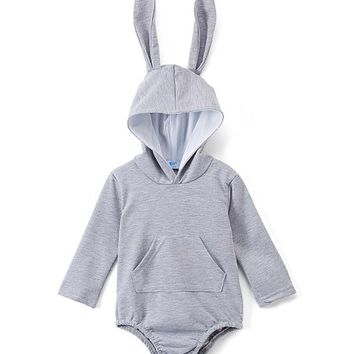 Gray Bunny Hooded Bodysuit - Newborn & Infant