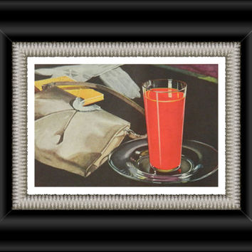 1930's Campbell's tomato juice ad - kitchen print, vintage food art, black and red kitchen decor