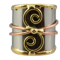 Two Spiral Mixed Metal Cuff Ring