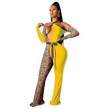 Women Sexy Leopard Patchwork Halter Open Shoulders Fashion Jumpsuit
