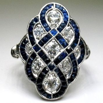 Gorgeous Antique Style Art Deco Large 18K Gold Italia Style Retro Jewelry Sterling Silver Imitation Blue Sapphire Ring Gemstone